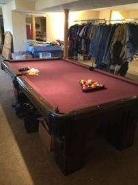 Pool Table, cue sticks, accessories