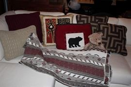 Assorted Accent Pillows and Blanket