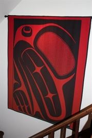Modern Tapestry in Red & Black