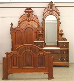 2pc. walnut Victorian bedroom set