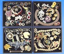 Costume jewelry by Weiss, Hobe,  Eisenberg, Capri etc.
