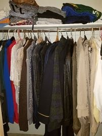 Men's clothing one of three closets full of clothes. Jos. A Bank, Colours by Alexander Julian, Pebble Beach, Pierre Cardin, Tommy Hilfiger, Izod, Saddlebred, French Navy and more L to XL shirts 38-29 or 30 pants