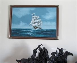 Ship Painting signed jackson, Frederick Remington Bronze