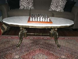 marble top with metal base