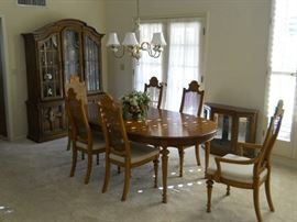Solid wood with cane back chairs dining suite and mathching curio