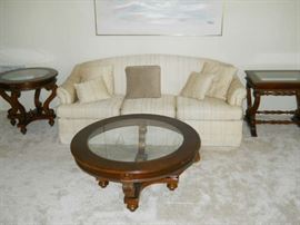 Beveled glass coffee table and side tables