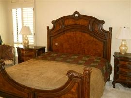 Fine cherry wood bedroom suite signed paid over $5,400 5 pc suite with  sold marble top tables.