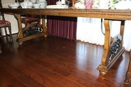 Bottom is dining room table showing iron work