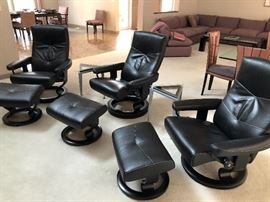 3 Stressless Ekornes Black Leather Recliners! The ultimate in comfort!