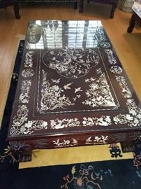 Beautiful Rosewood table with mother of pearl inlay