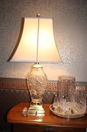 Cut glass lamp, Waterford salt and pepper, vases