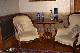 Victorian chairs and table ( Carpathian elm)