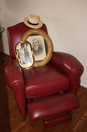 Ethan Allen leather recliner/antique  pictures and frames