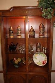 Vintage china cabinet/Beer steins (West Germany, Gerzit)