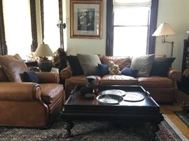 Ralph Lauren Leather Sofa Set and End Table, Thomas Kinkaid Print, Persian Tabriz Mahi Rug from Bloomingdales