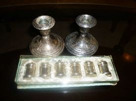 WEIGHTED STERLING CANDLE HOLDERS, STERLING SALT/PEPPER