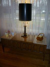 WOOD CABINET, LAMP, DISNEY FIGURINES