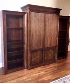 Ethan Allen Entertainment Center with 2 Adjoining bookcases. Contemporary /Mission in style 52 1/2 W X 24 1/2 Deep Side bookcases 31 W x 18 D X 78 H