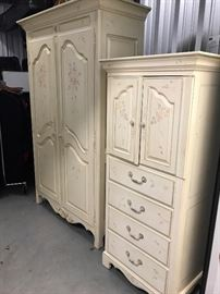 Ethan Allan french country hand painted with flower detail. Large armoire 50.5 L x 21.5 W x 79.5 H Small armoire 62 1/2 H X 18 1/2 D X 24 1/2 W