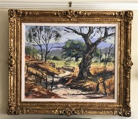 Framed California Landscape Painting Signed Ben Abril Oil on Canvas