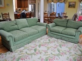 Couch and love seat. (Kitchen table & chairs in background will not be available for sale. Sorry)