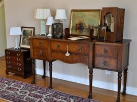 Side board AF.  Lamps,antique cabinet, Wallace Nutting.