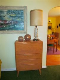 Heywood Wakefield Drop leaf Desk, 1950's amp and accessories