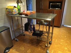 Stainless steel contemporary kitchen island matching stool stainless steel pedal activated garbage can