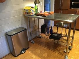 Stainless steel contemporary kitchen island matching stool stainless steel footpedal garbage can