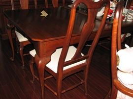 "Bob Timberlake solid cherry 45"" x 76"" dining table (extends to 124"") with 6 chairs.  Full size china cabinet."