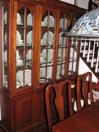 "Bob Timberlake solid cherry grande china cabinet and 45"" x 76"" dining table (extends to 124"") with 6 chairs."