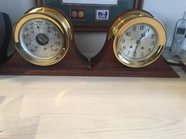 SHIP CLOCK AND BAROMETER  WORKS GREAT!