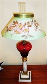 Vintage Ruby Glass/Marble Base Table Lamp