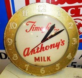 "Vintage ""Anthony's Milk"" Clock"