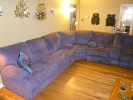 LARGE PURPLE UPHOLSTERED SECTIONAL SOFA