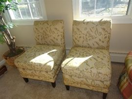 Pair of Custom Covered Boudier Chairs
