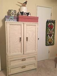 Vintage 1970's faux wicker dresser cabinet