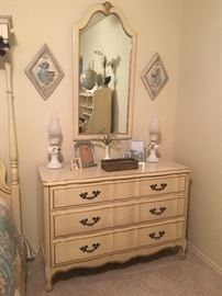 Vintage French Provincial dresser and matching mirror, Maisonnette Line by Kent-Coffey