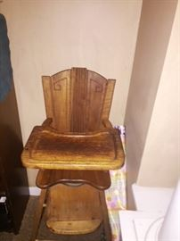 Art deco vintage baby high chair