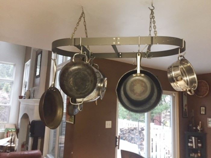 Pot rack and a few case iron pots too