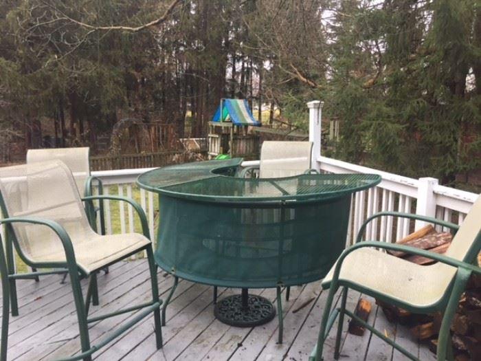 Outdoor bar height patio set