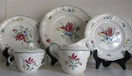 "set of china "" Longchamp""  made in France hand painted"