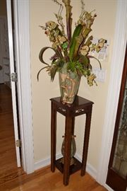 Plant Stand with Floral Arrangement