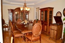 Dining Room Table and 8 Chairs (2 Arm Chairs), Victrola (needs work), Primitive Style Pie Safe, China Cabinet, Art