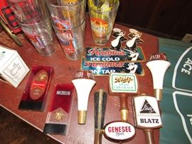 Vintage Beer Keg Taps incl. Budweiser, Michelob, Blatz, Genessee, and more.