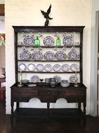 18th or 19th English oak (food) dresser, with  Amari dishwares.