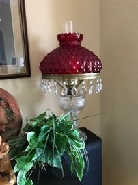 Cranberry shade lamp