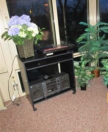 Floral, Entertainment Cart, Boom Box