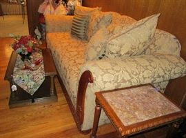 American Furniture Company Sofa - Very nice quality made in USA.  Also pictured Ethan Allen rolling multi purpose Cart/TV Stand/Coffee Table. Also pictured small wood table with marble top