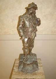 ANTIQUE METAL SPELTER  DON JUAN STATUE